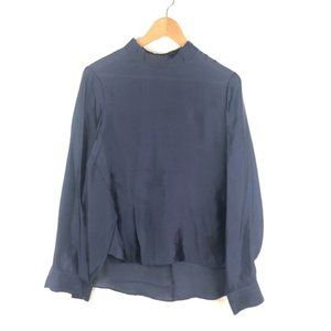 THEORY Mock Neck Long Sleeve Navy Blue Blouse M